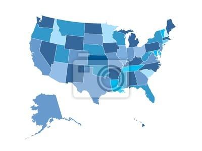 Obraz Mapa Stanów Zjednoczonych Ameryki, stwierdza, opisane i kolorowe