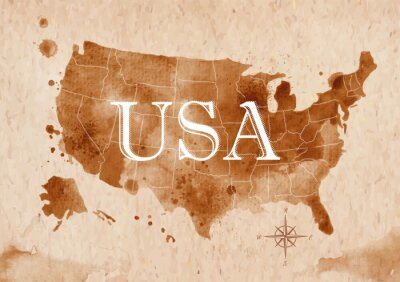 Obraz Mapa Stany Zjednoczone retro