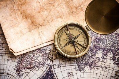 Obraz Mapa, Stary, Compass.