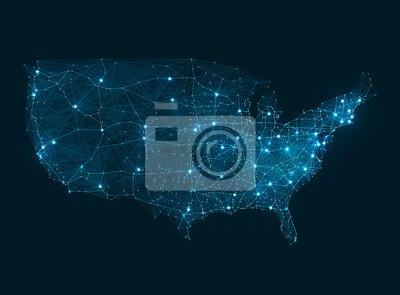 Obraz Mapa streszczenie sieć telekomunikacyjna - USA