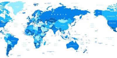 Obraz Mapa świata - Azja w centrum. Bardzo szczegółowe ilustracji wektorowych z mapy świata. Obraz zawiera kontury ziemi, nazwy krajów i gruntów, nazwy miast, nazwy obiektów wody.