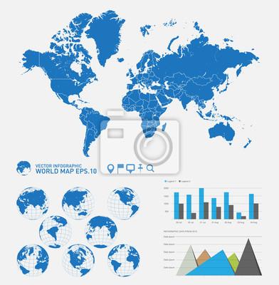 Mapa świata i grafika informacyjne, wektorowego eps10.