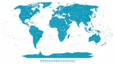 Obraz Mapa świata i ikony nawigacyjne - ilustracji. Bardzo szczegółowe mapy świata: państwa, miasta, obiekty wodne.