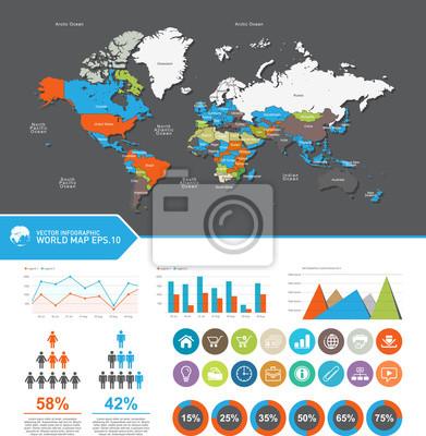 Mapa świata-kraje, Ustaw elementy infografiki. Mapa świata i grafika informacyjne, wektorowego eps10.