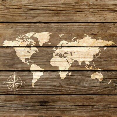 Obraz Mapa świata na desce wektora