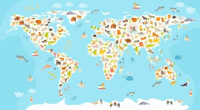 Obraz Mapa świata ssakiem. Piękny pogodny ilustracji wektorowych kolorowe dla dzieci i dzieci. Przedszkolak, dziecko, kontynenty, oceany, ciągnione, Ziemia