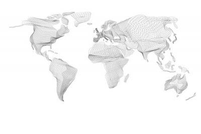 Obraz Mapa świata. Streszczenie rocznika grafiki komputerowej z czarnymi liniami