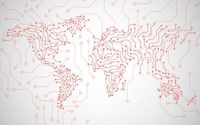 Obraz Mapa świata. Technologia tła