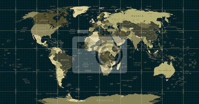 Mapa świata w kolorach maskujących z kwadratową siatką