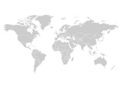 Obraz Mapa świata w kolorze szarym na białym tle. Wysoka szczegółowo pusta mapa polityczna. Ilustracji wektorowych ze znakiem ścieżki złożone każdego kraju.