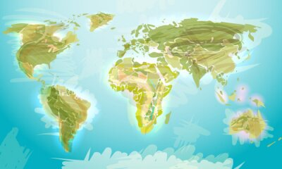 Obraz Mapa świata w stylu grunge