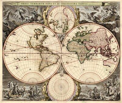 Obraz Mapa świata w stylu vintage