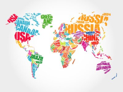 Obraz Mapa świata w Typografii Word chmura koncepcji, nazwy krajów