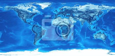 Mapa świata w wysokiej rozdzielczości w kolorze niebieskim