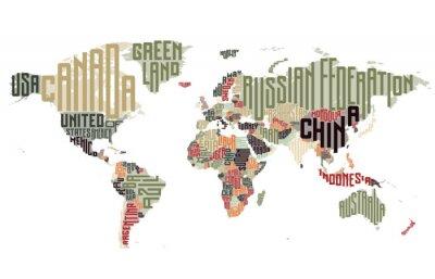 Obraz Mapa świata wykonane z nazw państw typograficznych