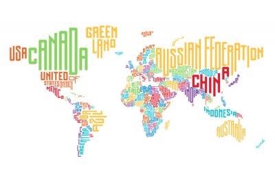 Obraz Mapa świata wykonane z nazwy kraju i typograficznych