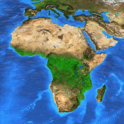 Mapa świata wysokiej rozdzielczości koncentruje się na Afryce