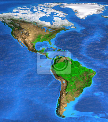 Mapa świata wysokiej rozdzielczości koncentruje się na Ameryce