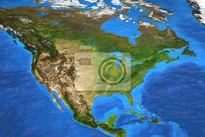 Mapa świata wysokiej rozdzielczości koncentruje się na Ameryce Północnej