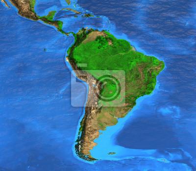 Mapa świata wysokiej rozdzielczości koncentruje się na Ameryce Południowej