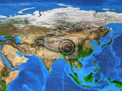 Mapa świata wysokiej rozdzielczości koncentruje się na Azji