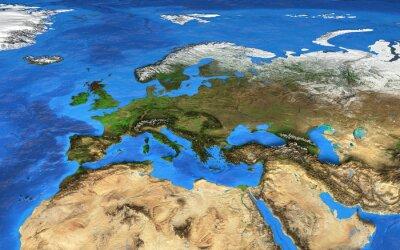 Obraz Mapa świata wysokiej rozdzielczości koncentruje się na Europie
