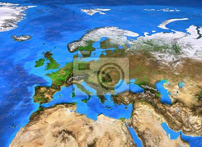 Mapa świata wysokiej rozdzielczości koncentruje się na Europie