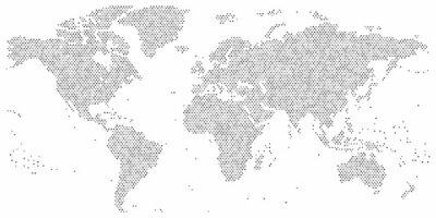 Obraz Mapa świata z kropek o różnych rozmiarach w szczegółach