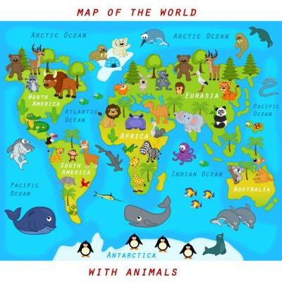 Obraz Mapa świata ze zwierzętami - ilustracji wektorowych, EPS