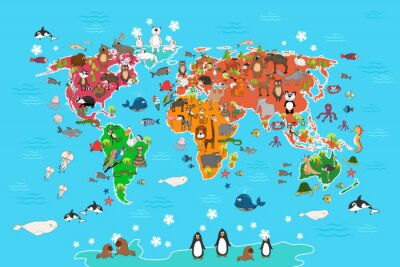 Obraz Mapa świata ze zwierzętami. Małpa i jeż, niedźwiedź i kangura, zając Wilk panda i pingwinów i papug. Zwierzęta Mapa świata ilustracji wektorowych w stylu kreskówki