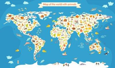 Obraz Mapa Świata ze zwierzętami. Piękne kolorowe ilustracji wektorowych. Przedszkole dla dziecka, dzieci, dzieci i wszystkich ludzi