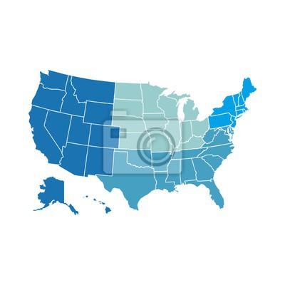 Obraz Mapa USA Regionalnego
