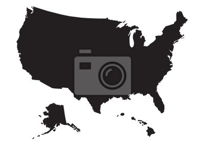 Obraz Mapa USA z flagą