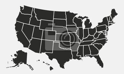 Obraz Mapa USA z państwami samodzielnie na białym tle. Mapa Stanów Zjednoczonych. Ilustracji wektorowych