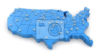Obraz Mapa USA z toru lotu. Obrazek ze ścieżką.