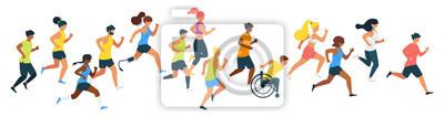 Obraz Marathon runners flat vector illustration