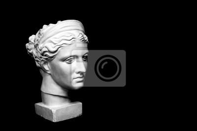 Obraz Marmur-szef młodej kobiety, starożytnej greckiej piersi bogini na różowym tle z miejsca na tekst.