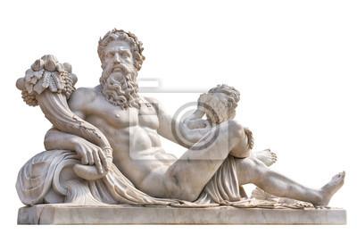 Obraz Marmurowy posąg grecki bóg z rogiem obfitości w dłoniach.