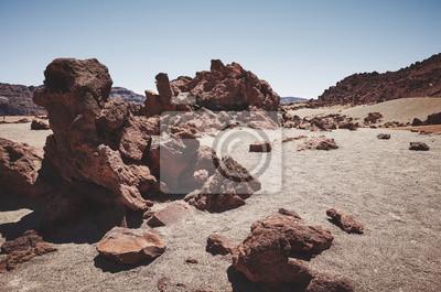 Mars like landscape of Mount Teide in Teide National Park, color toning applied, Tenerife, Spain.