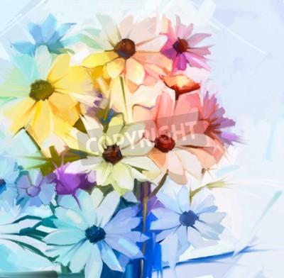 Obraz Martwa natura bukietowych białych kwiatów kosmosu o miękkim żółtym, różowym i fioletowym kolorze. Obraz olejny miękki bukiet kwiatów. Malowane ręcznie malowany pastelowy kolor.