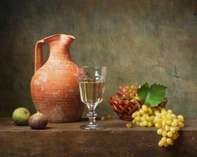 Obraz Martwa natura z białego wina i winogron