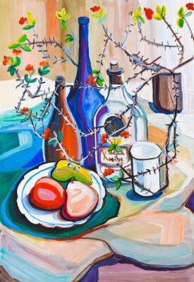 Obraz Martwa natura z butelki, owoców i kolczaste rośliny w przepływającej