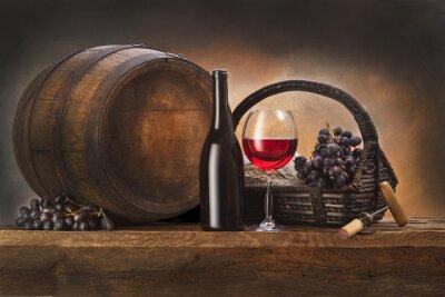 Obraz Martwa natura z czerwonego wina i beczkę starego