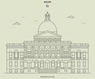 Massachusetts State House in Boston, USA. Landmark icon