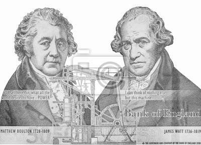 Obraz Matthew Boulton and James Watt, portrait from England money 50 Pounds Banknote. Close Up UNC Uncirculated - Collection.