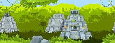 Obraz Maya ancient pyramid vector seamless background, jungle outline landscape, Mexico stone temple. Aztec old ruin, travel landmark illustration, palm silhouette, rainforest liana. Maya pyramid banner