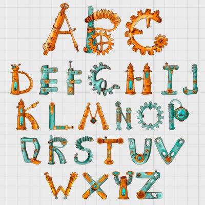 Obraz Mechanic Alphabet Colored