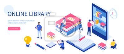 Obraz Media book library concept. Can use for web banner, infographics, hero images. Flat isometric vector illustration isolated on white background.