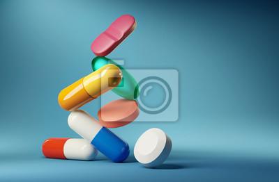 Obraz Medical balancing act. A group of medicine pills and antibiotics balancing on top of each other. 3D render illustration.