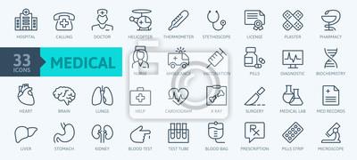 Obraz Medicine and Health symbols - minimal thin line web icon set. Outline icons collection. Simple vector illustration.